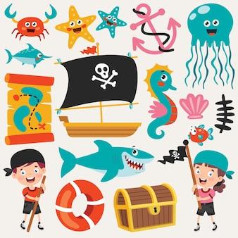 Conjunto de elementos do mar de desenho animado