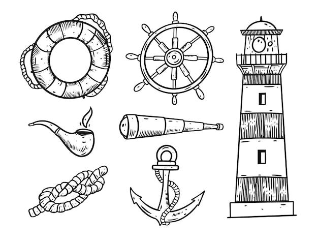 Conjunto de elementos do mar.