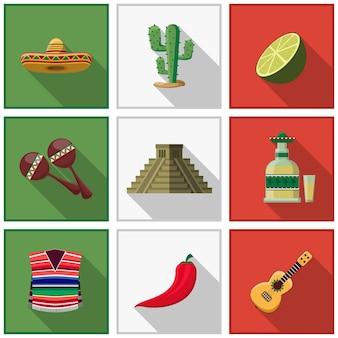 Conjunto de elementos do méxico, símbolos mexicanos. cacto e pimenta, tequila e violão