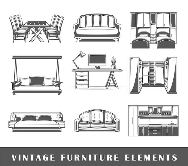 Conjunto de elementos do mobiliário