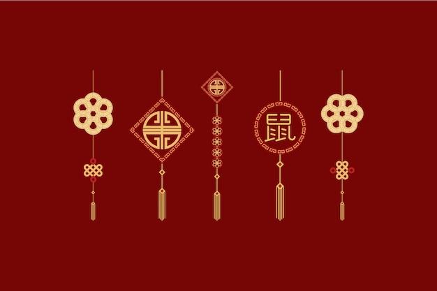 Conjunto de elementos do modelo do ano novo chinês
