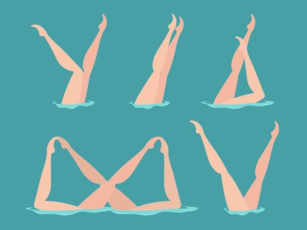 Conjunto de elementos do nado sincronizado feminino. atleta feminina sobre o desempenho de elementos de arte performática de nado sincronizado