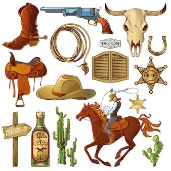 Conjunto de elementos do oeste selvagem