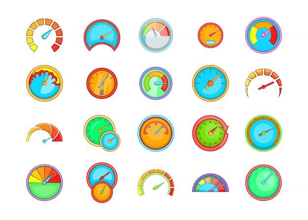 Conjunto de elementos do painel. conjunto de desenhos animados de elementos do vetor de painel