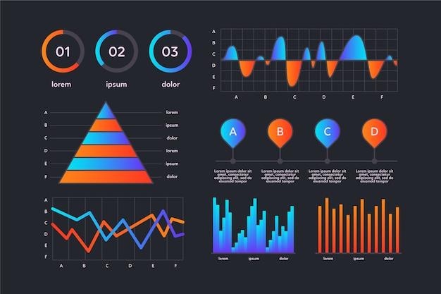Conjunto de elementos do painel infográfico