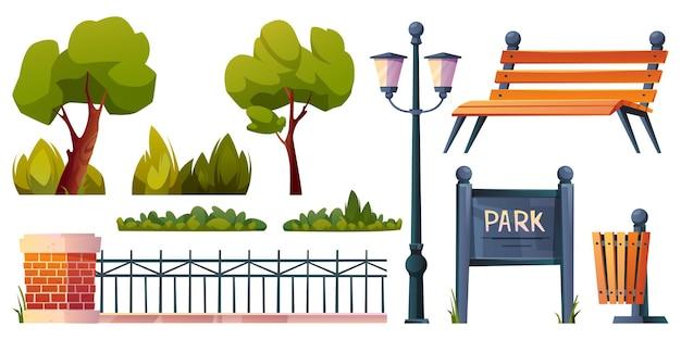 Conjunto de elementos do parque ícones isolados dos desenhos animados vetor árvores verdes grama e arbustos lâmpada de rua e madeira