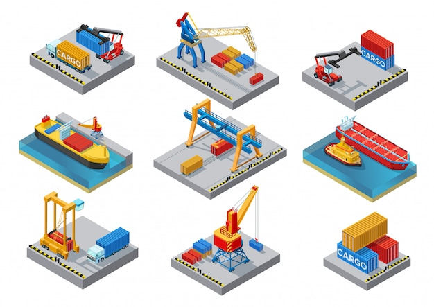 Conjunto de elementos do porto marítimo isométrico