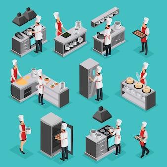 Conjunto de elementos do processo de cozimento isométrico com cozinheiros profissionais preparando diferentes pratos e trabalhando em restaurante isolado