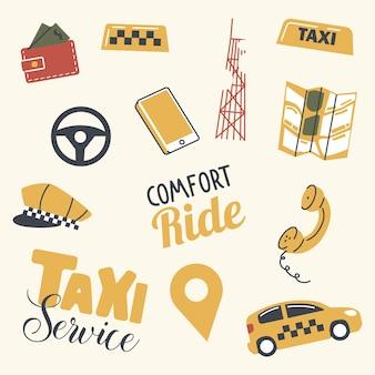 Conjunto de elementos do serviço de táxi