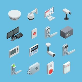 Conjunto de elementos do sistema de segurança em casa