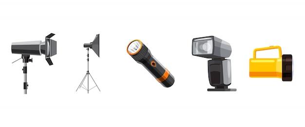 Conjunto de elementos do spotlight. conjunto de desenhos animados de holofotes