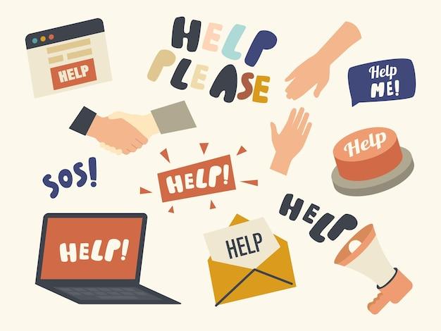 Conjunto de elementos do tema de solicitação de ajuda