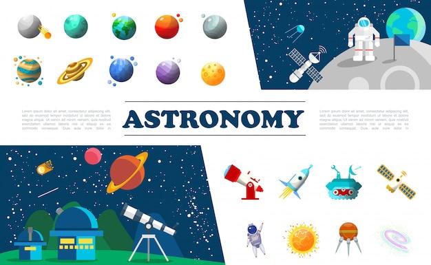 Conjunto de elementos do universo plano colorido com diferentes planetas astronauta no espaço sideral satélite telescópio planetário nave espacial moon rover constelação