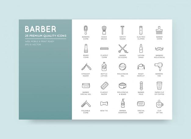 Conjunto de elementos do vetor barbearia e ícones de loja de barbear
