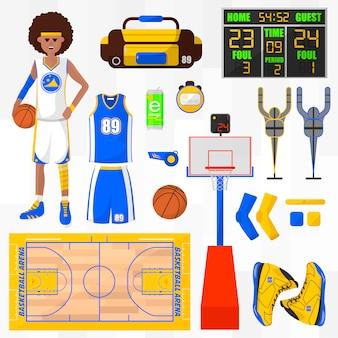 Conjunto de elementos do vetor de basquete.