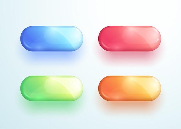 Conjunto de elementos do vetor de forma brilhante botão pílula