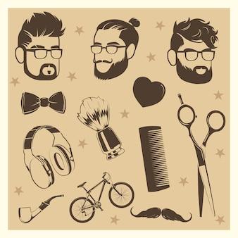 Conjunto de elementos do vetor hipster - cabeças masculinas, tesoura