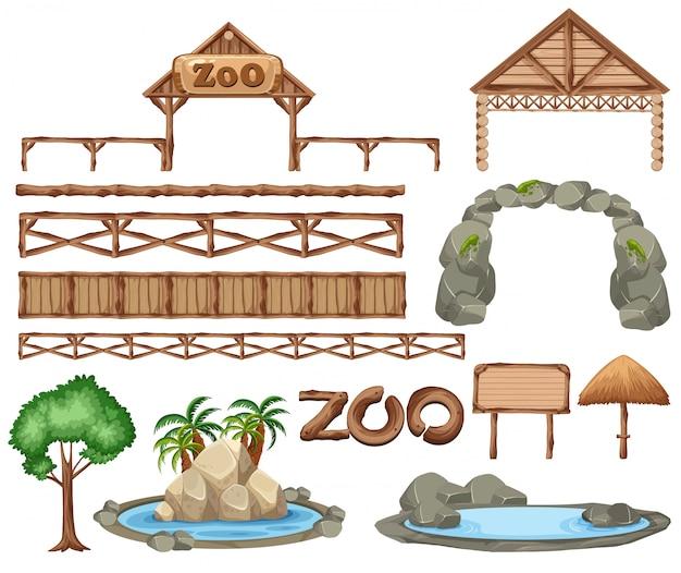 Conjunto de elementos do zoológico