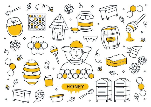 Conjunto de elementos doodle de mel