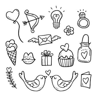 Conjunto de elementos doodle do dia dos namorados