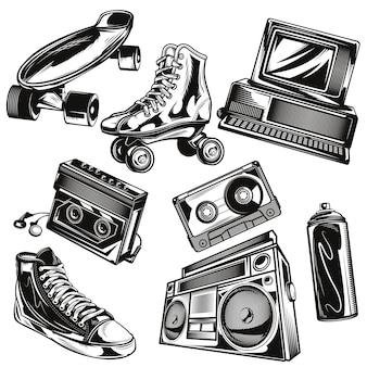 Conjunto de elementos dos anos 80
