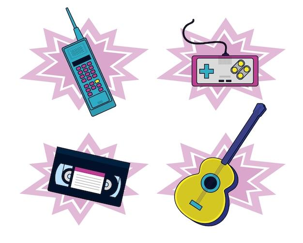 Conjunto de elementos dos anos 90 e tecnologia