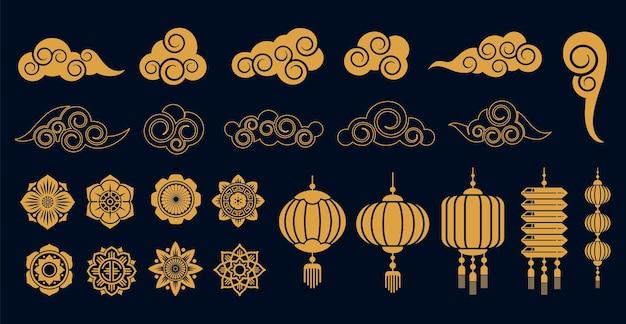 Conjunto de elementos dourados orientais