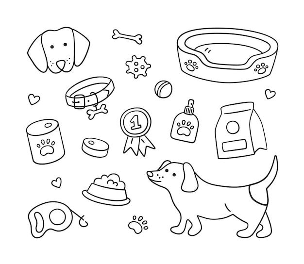 Conjunto de elementos e acessórios caninos com cachorro bassê