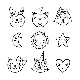 Conjunto de elementos e animais bonitos dos desenhos animados.
