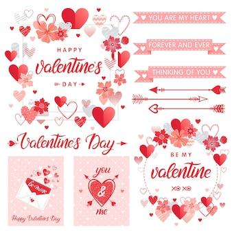 Conjunto de elementos e cartões criativos de dia dos namorados.