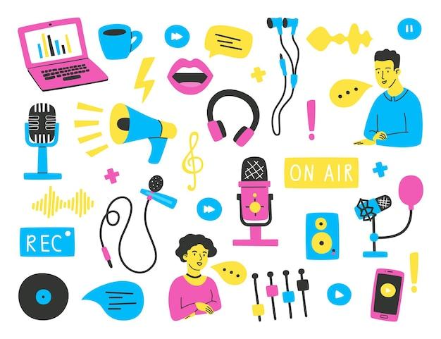 Conjunto de elementos e frases desenhados à mão sobre o tema da gravação de podcasts