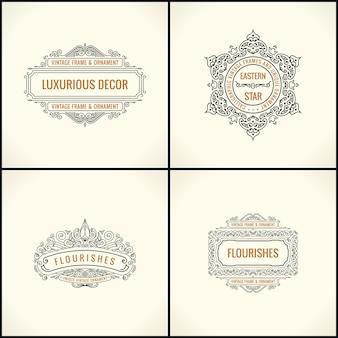 Conjunto de elementos e quadros caligráficos