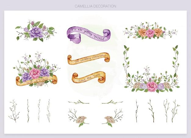 Conjunto de elementos em aquarela de casamento para convite