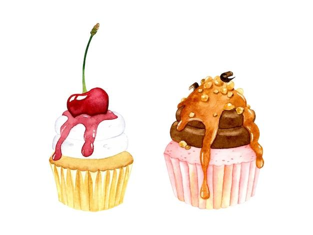 Conjunto de elementos em aquarela de cupcakes doces isolado
