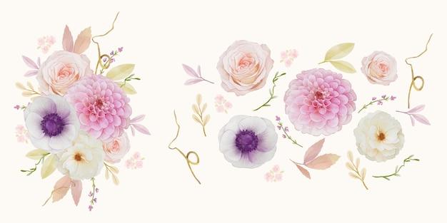 Conjunto de elementos em aquarela de flor de dália rosa e anêmona