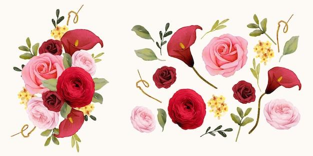 Conjunto de elementos em aquarela de lírio rosa vermelho e flor de ranúnculo