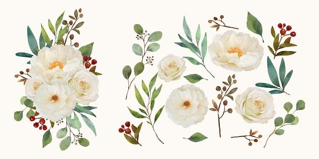 Conjunto de elementos em aquarela de rosa branca e flor de peônia