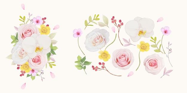 Conjunto de elementos em aquarela de rosa rosa e orquídea