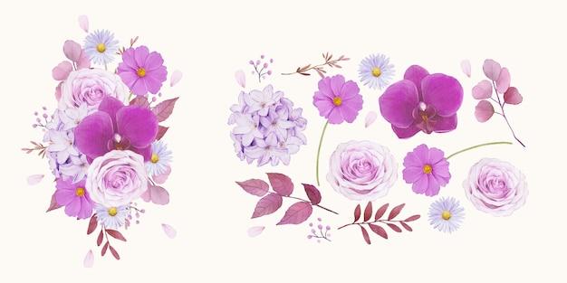 Conjunto de elementos em aquarela de rosa roxa e orquídea