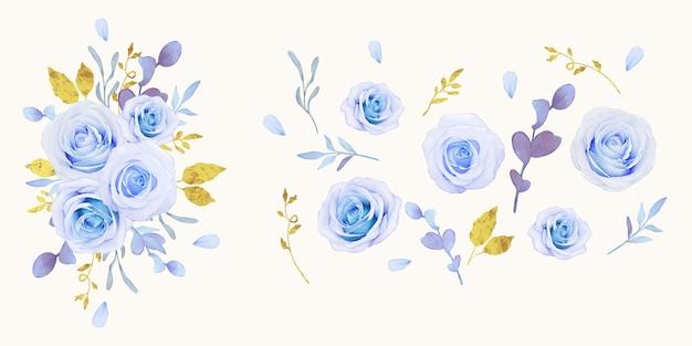 Conjunto de elementos em aquarela de rosas azuis