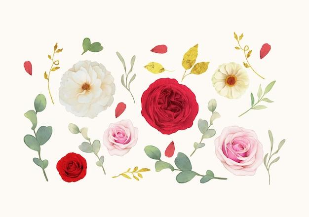 Conjunto de elementos em aquarela de rosas brancas e vermelhas
