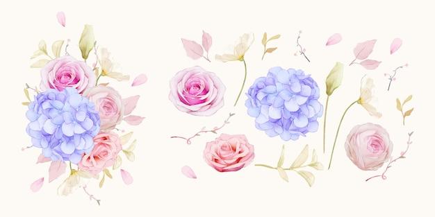 Conjunto de elementos em aquarela de rosas e flor de hortênsia azul