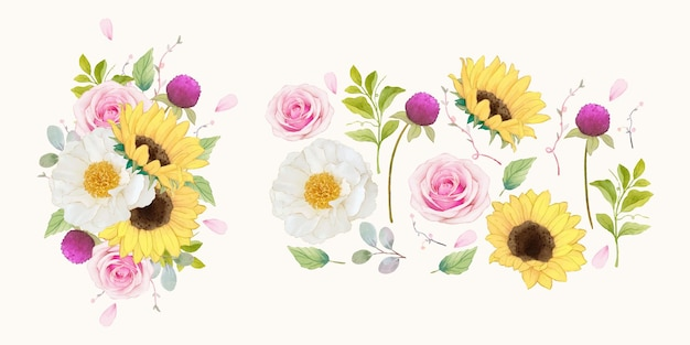 Conjunto de elementos em aquarela de rosas e girassol