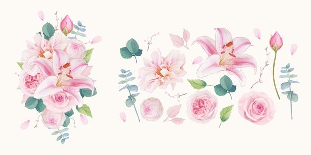 Conjunto de elementos em aquarela de rosas, lírio e dália