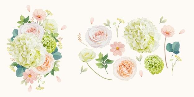 Conjunto de elementos em aquarela de rosas pêssego e flor de hortênsia