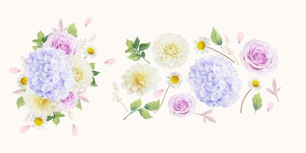 Conjunto de elementos em aquarela de rosas roxas, dália e flor de hortênsia