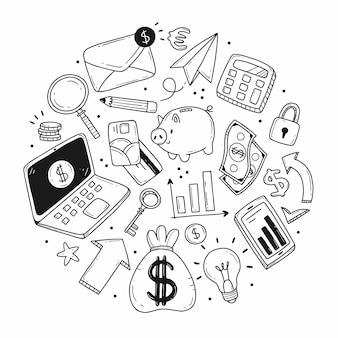 Conjunto de elementos em forma de círculo sobre o tema de negócios e finanças no estilo cartoon doodle