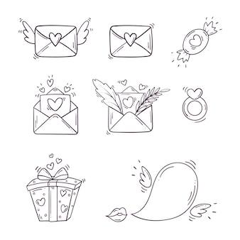 Conjunto de elementos em preto e branco para st. dia dos namorados em estilo doodle.
