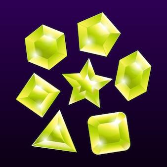 Conjunto de elementos emblema pedra preciosa pedra amarela