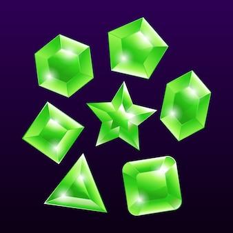 Conjunto de elementos emblema pedra preciosa pedra verde